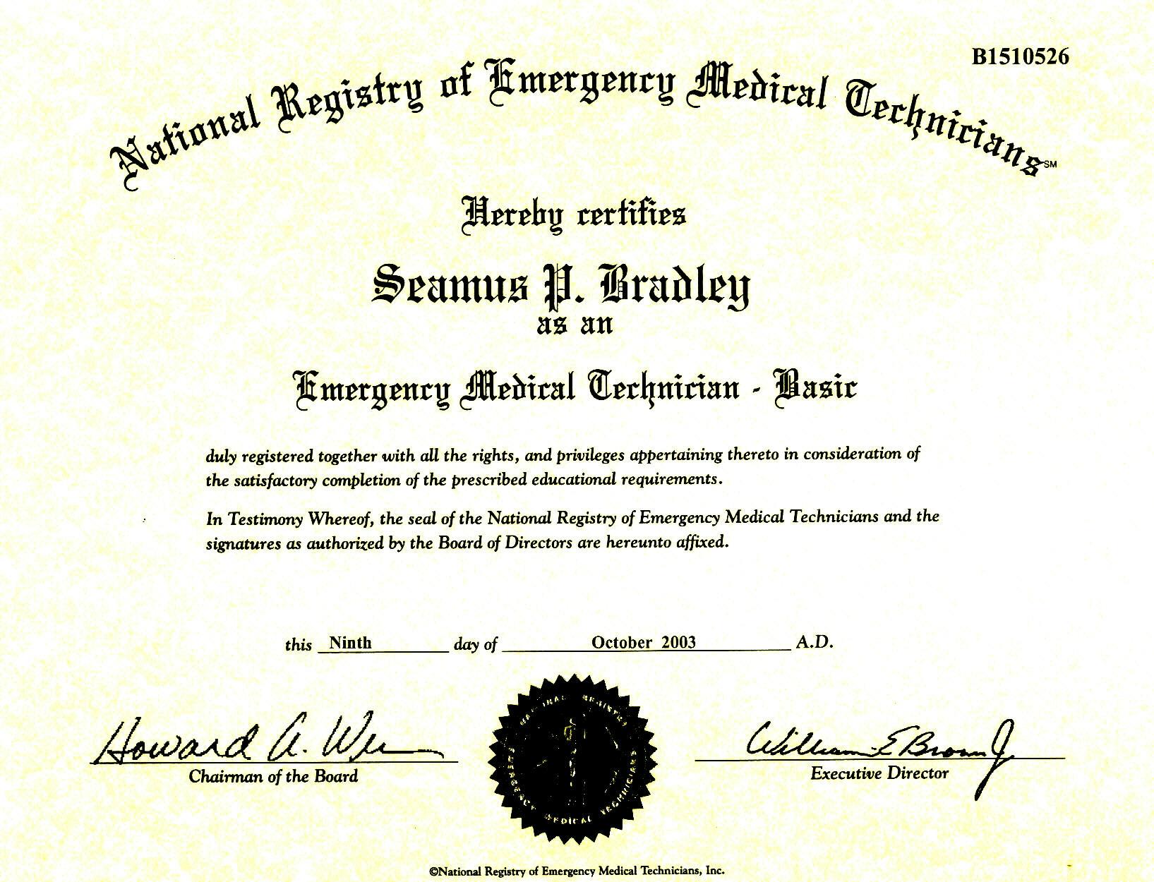 Emt Certification Card Related Keywords Suggestions Emt